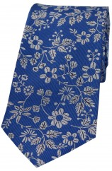Soprano Blue Ground With Multi White Flowers Silk Tie
