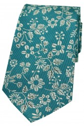 Soprano Green Ground With Multi White Flowers Silk Tie