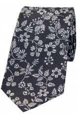 Soprano Dark Grey Ground With Multi White Flowers Silk Tie