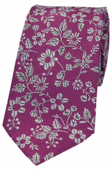 Soprano Fuchsia Ground With Multi White Flowers Silk Tie