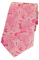 Soprano Pink Edwardian Patterned Floral Silk Tie
