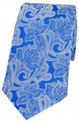 Soprano Royal Blue Edwardian Floral Patterned Silk Tie