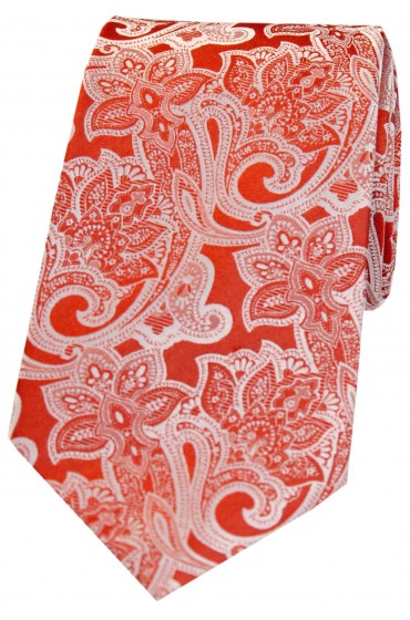 Soprano Orange Edwardian Floral Patterned Silk Tie
