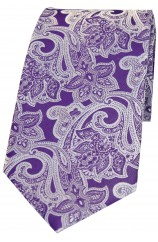 Soprano Lilac Edwardian Floral Patterned Silk Tie