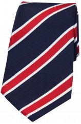 Soprano Navy Red White Striped Coloured Silk Tie