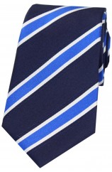 Soprano Navy White Blue Striped Coloured Silk Tie