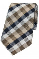 Soprano Tan Beige Navy Check Luxury Silk Tie