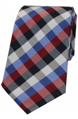 Soprano Red Navy Blue Check Luxury Silk Tie