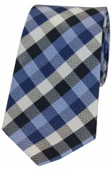 Soprano Navy And Blue Check Luxury Silk Tie