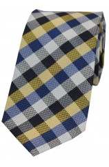 Soprano Gold And Blue Check Luxury Silk Tie