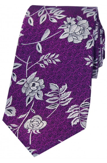Soprano Purple Flower And Leaf Luxury Silk Tie