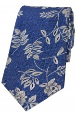 Soprano Blue Flower And Leaf Luxury Silk Tie