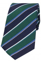 Soprano Navy Green White And Blue Striped Silk Tie