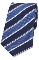 Soprano Navy Blue And White Striped Silk Tie