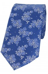 Soprano Mid Blue Small Flowers Luxury Silk Tie