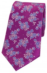 Soprano Magenta Flowers Luxury Silk Tie