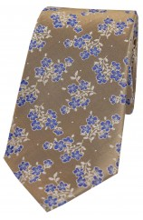 Soprano Tan Ground Small Blue Flowers Silk Tie
