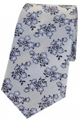 Soprano Silver Ground Small Flowers Silk Tie