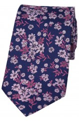 Soprano Navy Ground Pink And Fuchsia Flowers Silk Tie