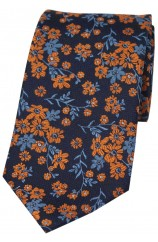 Soprano Navy Ground Blue And Burnt Orange Flowers Silk Tie