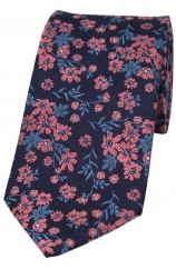 Soprano Navy Ground Blue And Fuchsia Flowers Silk Tie