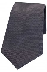 Soprano Charcoal Diagonal Ribbed Plain Silk Tie