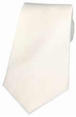 Soprano White Diagonal Ribbed Plain Silk Tie