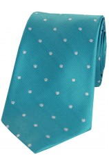 Soprano Turquoise and White Polka Dot Silk Tie