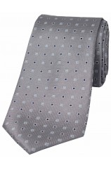 Soprano Grey Small Squares Silk Tie