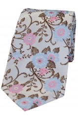 Soprano Silver With Fuchsia and Blue Flowers Silk Tie