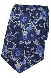 Soprano Navy Flowers Silk Tie