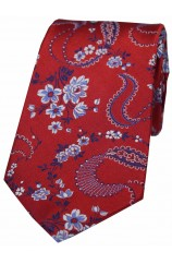 Soprano Red With Floral Pattern Mens Silk Tie