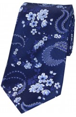 Soprano Navy With Floral Pattern Mens Silk Tie