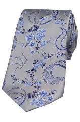 Soprano Silver With Floral Pattern Silk Tie