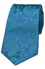 Soprano Cyan With Green Paisley Woven Silk Tie