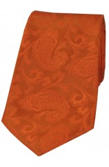Soprano Orange Paisley Woven Silk Tie