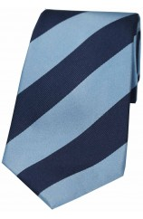 Soprano Denim Blue and Navy College Striped Silk Tie