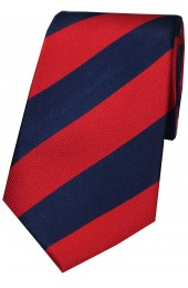 Soprano Red and Navy College Striped Silk Tie