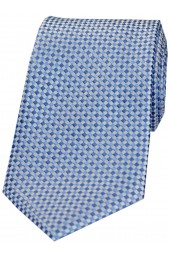 Soprano Neat Checked Sky and Silver Silk Tie
