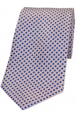 Soprano Neat Checked Sky and Pink Silk Tie