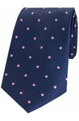 Soprano Navy and Pink Polka Dot Silk Tie