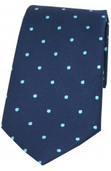 Soprano Navy and Cyan Polka Dot Silk Tie