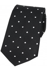 Soprano Black and White Polka Dot Silk Tie