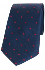 Soprano Navy Red Polka Dot Silk Tie