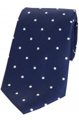 Soprano Navy and White Polka Dot Silk Tie