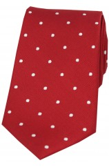 Soprano Red and White Polka Dot Silk Tie