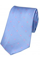 Soprano Sky Blue and Pink Polka Dot Silk Tie