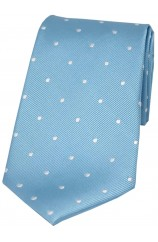 Soprano Sky Blue and White Polka Dot Silk Tie