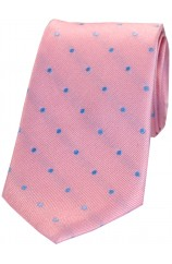 Soprano Pink and Sky Blue Polka Dot Silk Tie