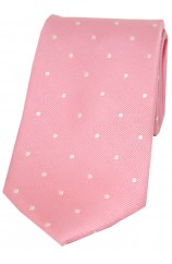 Soprano Pink and White Polka Dot Silk Tie